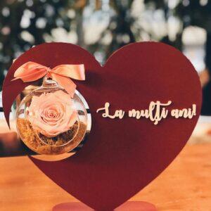 Inimă cu mesaj și trandafir criogenat
